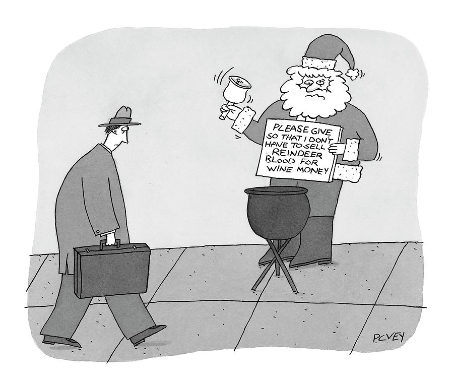 Sidewalk Santas Sign Reads:  Please Give Drawing by Peter C. Vey