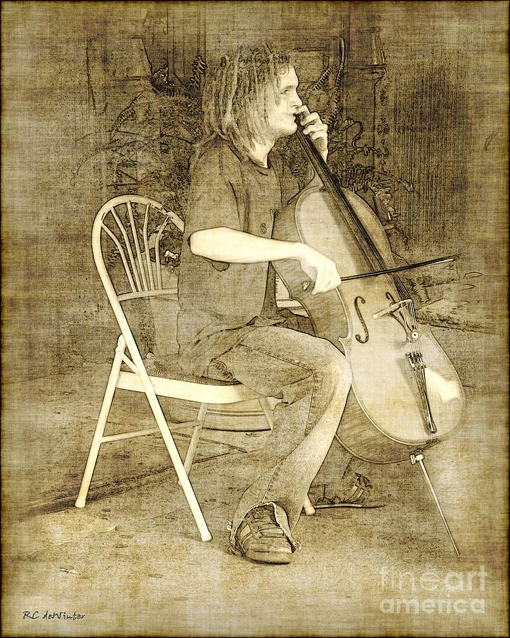 Cellist Drawing - Sidewalk Virtuoso by RC deWinter