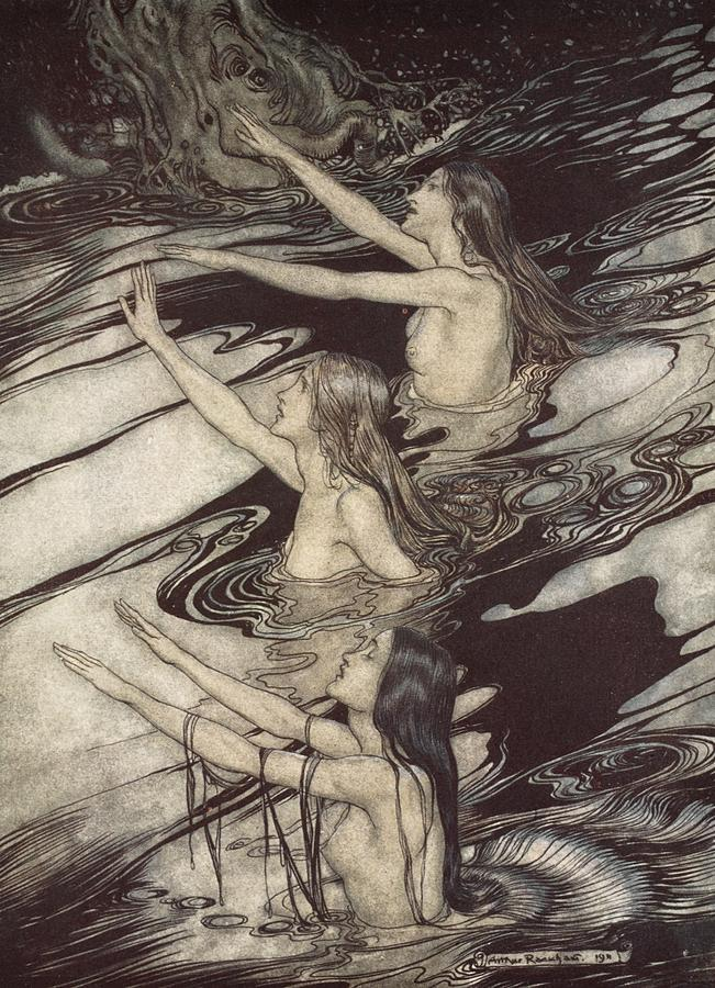 Der Ring Des Nibelungen; The Ring Of The Nibelung; Myth; Legend; Opera; The Ring Cycle; Richard Wagner; Norse Mythology; Female; Characters; Rhinemaidens; Illustration; Waving; Swimming; The Twilight Of The Gods; River Rhine; Water; Water-nymphs; Nymphs Drawing - Siegfried Siegfried Our Warning Is True Flee Oh Flee From The Curse by Arthur Rackham
