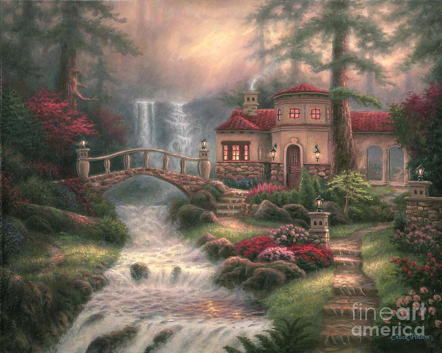 Tuscan Painting - Sierra River Falls by Chuck Pinson
