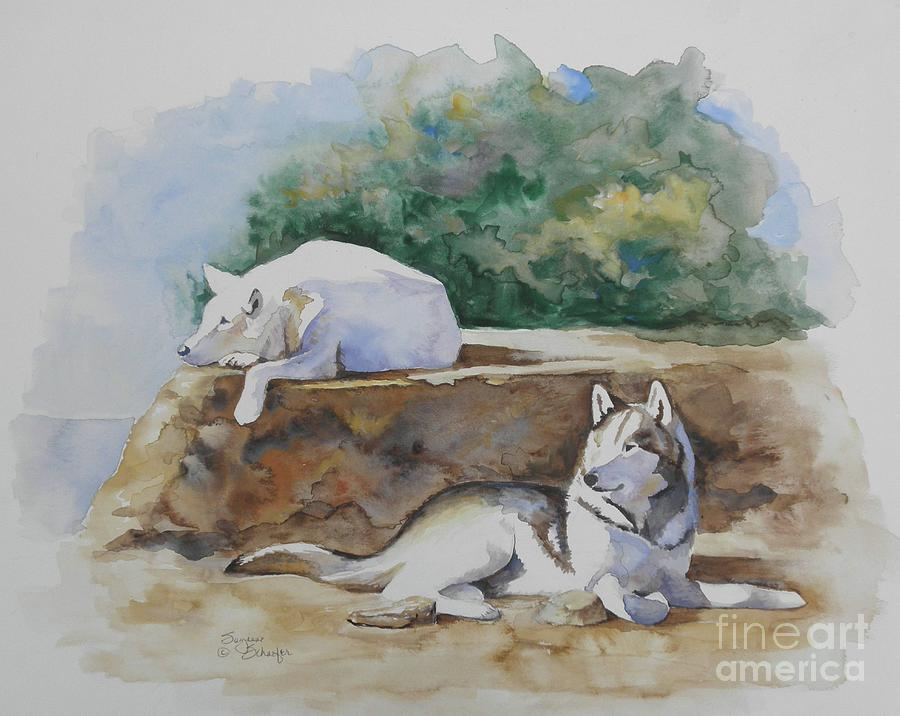 Wolves Painting - Siesta Time by Suzanne Schaefer
