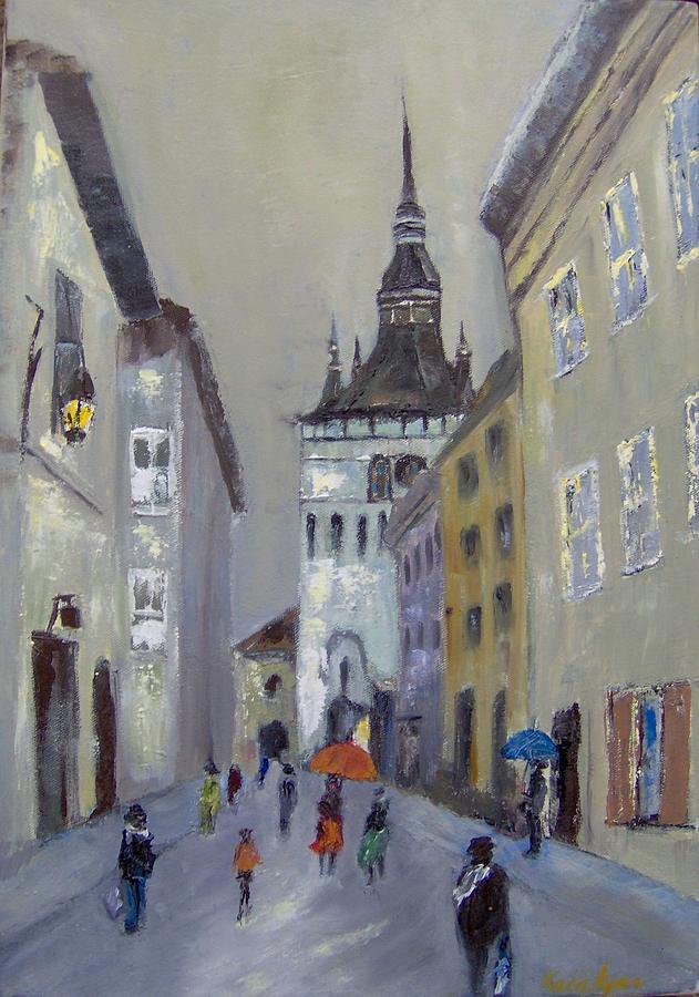 Tower  Painting - Sighisoara-tower Clock by Maria Karalyos