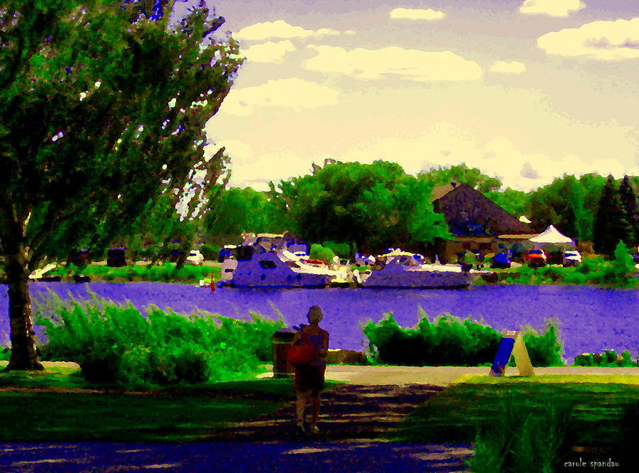Montreal Painting - Sights Along The Harbor Late Day Stroll Lachine Canal Bike Path Montreal Scenes Carole Spandau by Carole Spandau