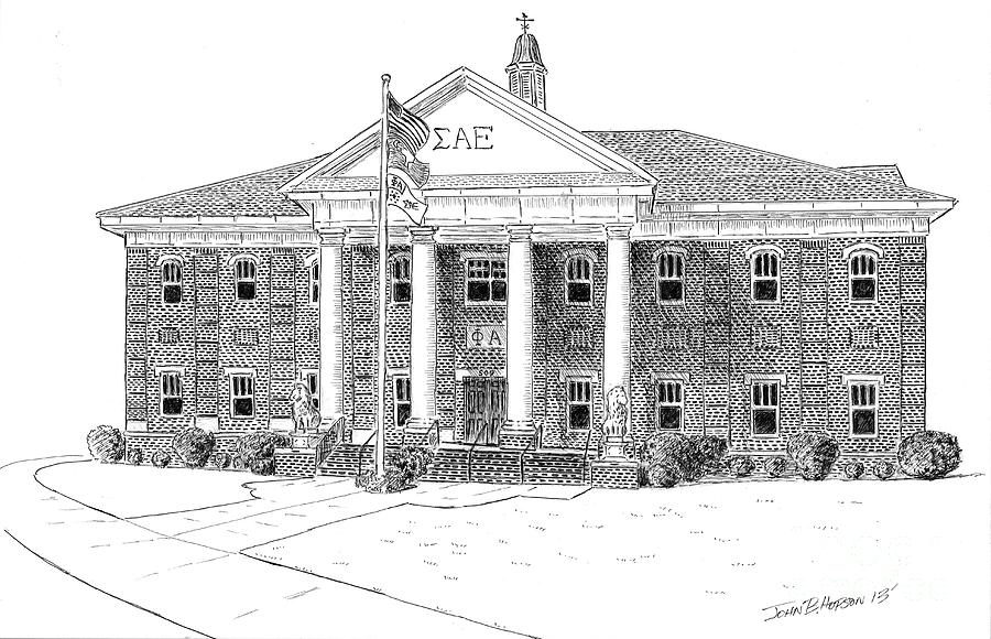 University Of South Carolina Drawing - Sigma Alpha Epsilon House by John Hopson