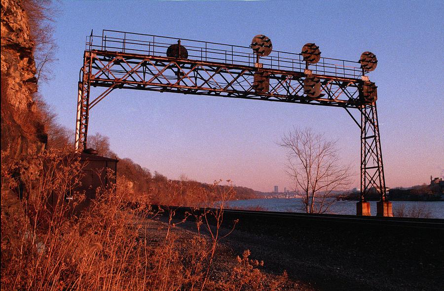 Trains Photograph - Signal Bridge Along Ohio River Near Pittsburgh by Eric Miller