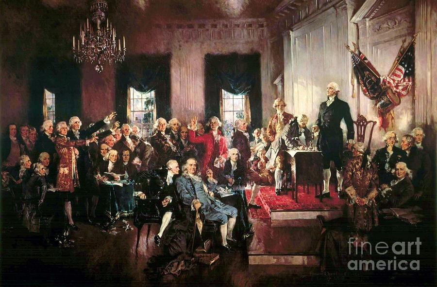 Reproduction Painting - Signing Of The United States Constitution by Pg Reproductions