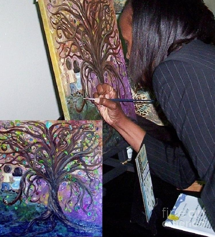 Child Painting - Signing The Tree With Jackie Joyner- Kersee  by Eloise Schneider