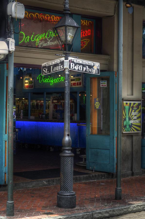 Bourbon Street Photograph - Signs Of Bourbon by Greg and Chrystal Mimbs