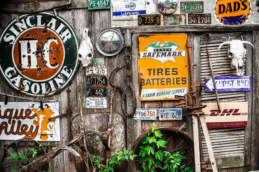 Paxico Photograph - Signs Of The Collectors Corner by Steven Bateson