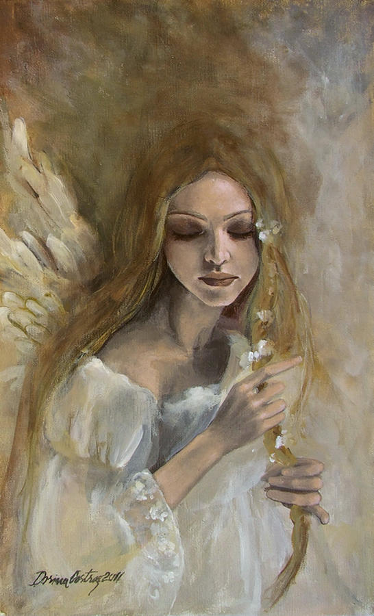 Angels Painting - Silence by Dorina  Costras
