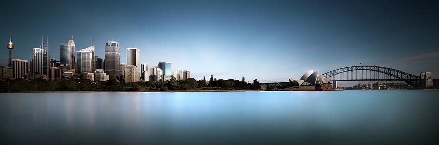 Panorama Photograph - Silence Of Ms. Macquaries Skyline by Dr. Akira Takaue