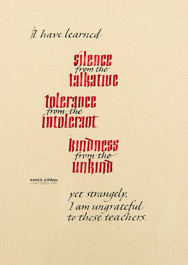 Calligraphy Mixed Media - Silence - Tolerance - Kindness by Beth Lee