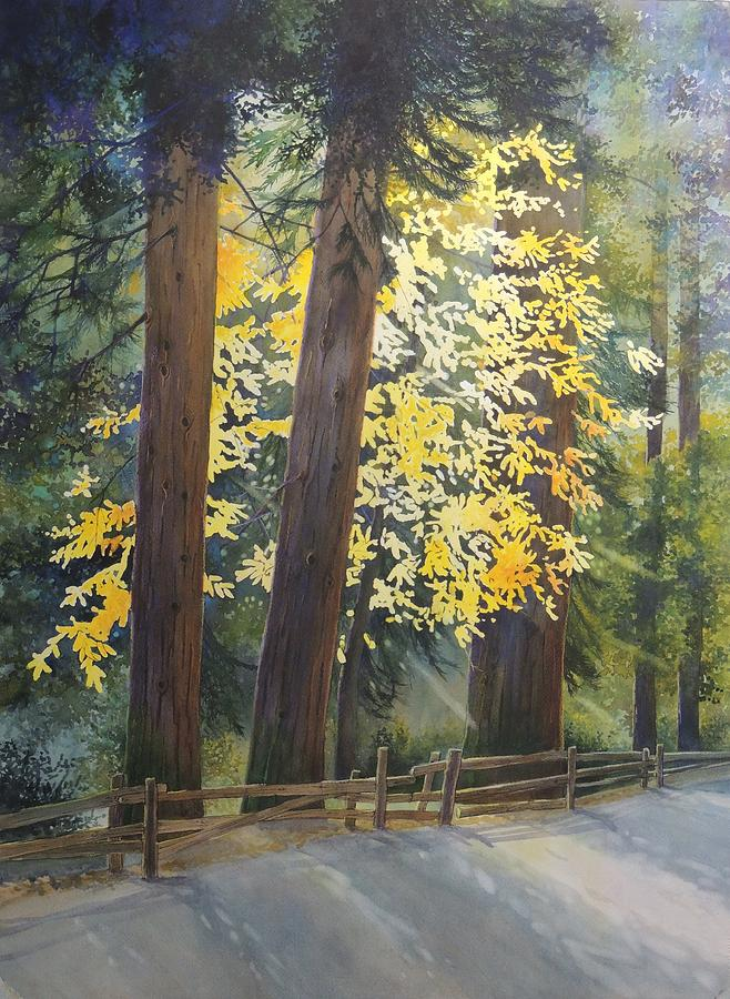 Cedars Painting - Silent Moment by Wendy Wetzel-Rogers