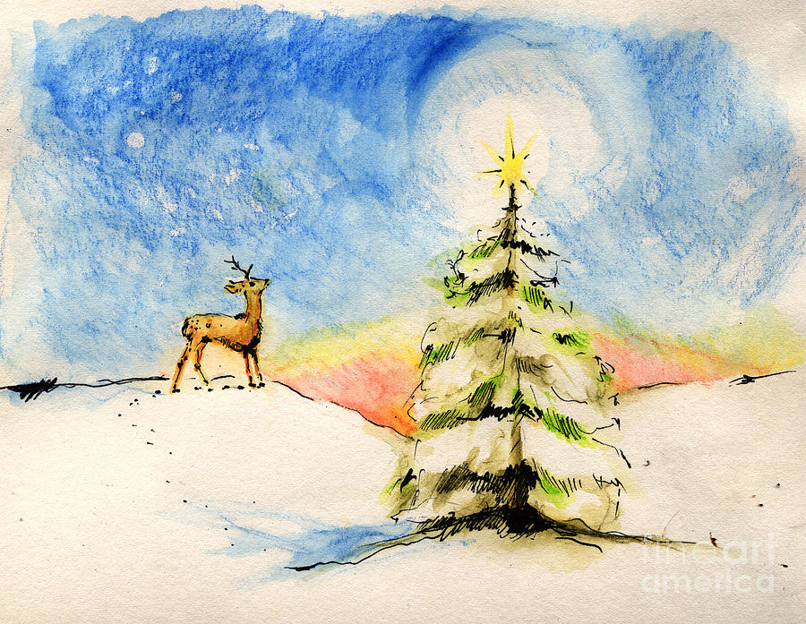 Christmas Painting - Silent Night by Angel Ciesniarska