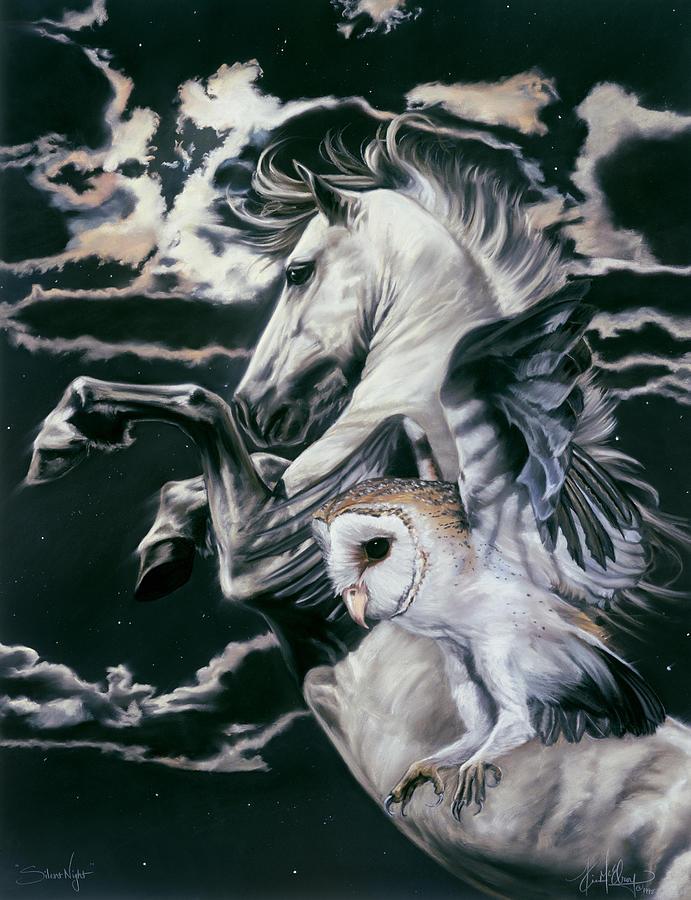 Barn Owl In Flight Pastel - Silent Night by Kim McElroy
