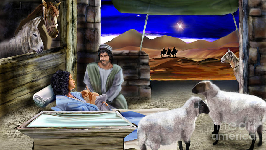 Nativity Scene Painting - Silent Night by Reggie Duffie