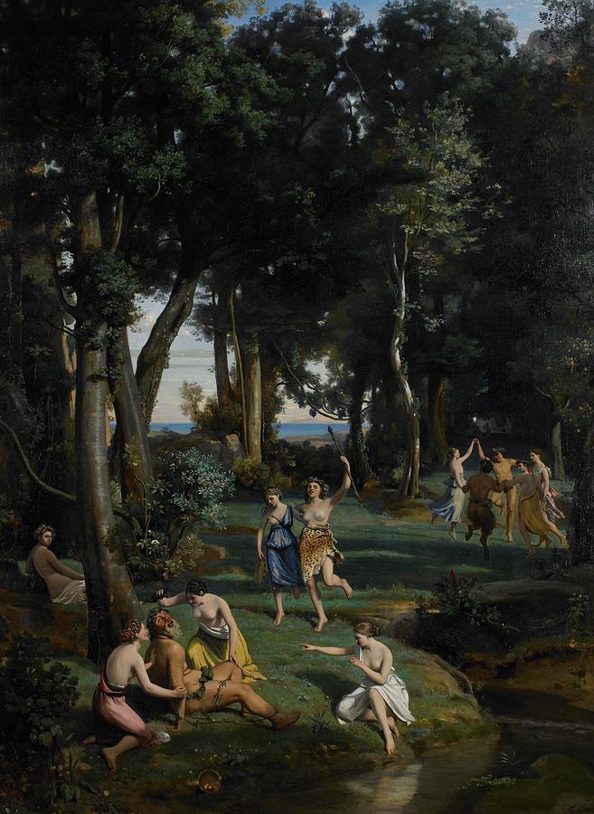 God; Goddess; Goddesses; Landscape; Idyllic; Stream; Idyll; Courting; Courtship; Mythological; Ancient Painting - Silenus by Jean Baptiste Camille Corot