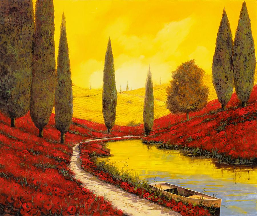 Sunset Painting - Silenzio Tra I Cipressi by Guido Borelli