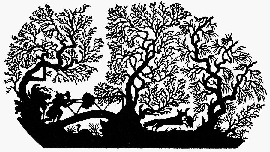 19th Century Painting - Silhouette Hunting by Granger
