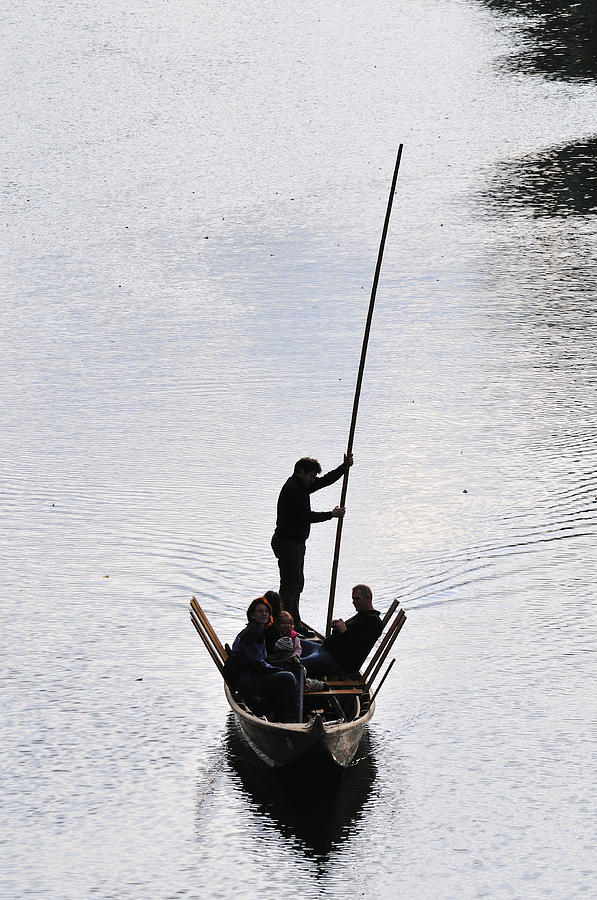 Punt Photograph - Silhouette Of A Punt On The River by Matthias Hauser