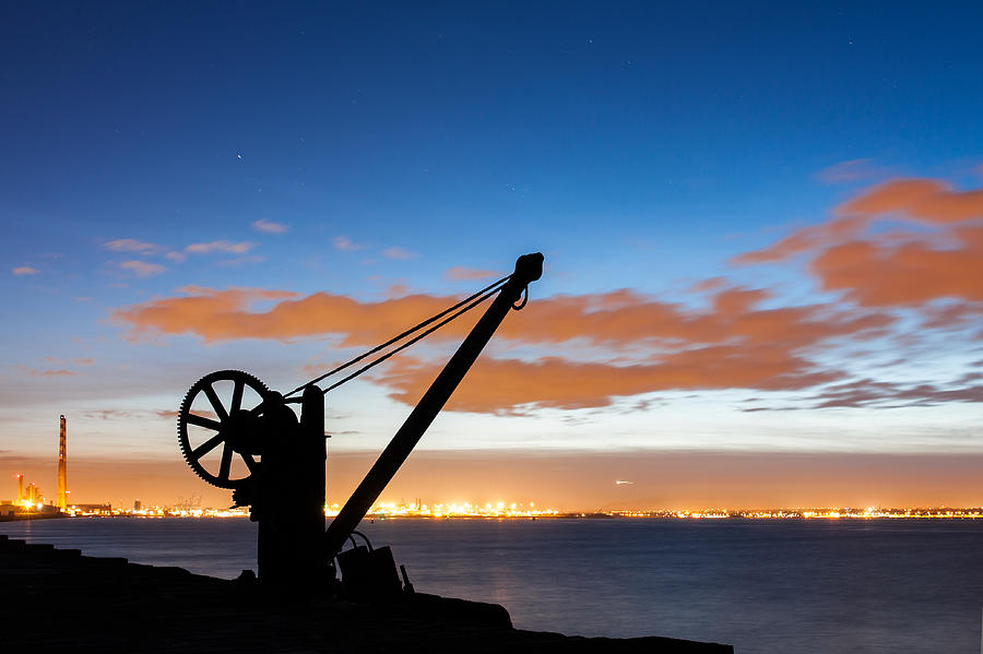 Arm Photograph - Silhouette Of The Davit In Dublin Port by Semmick Photo