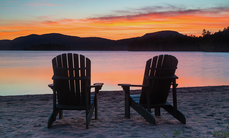 Silhouette Of Two Adirondack Chairs