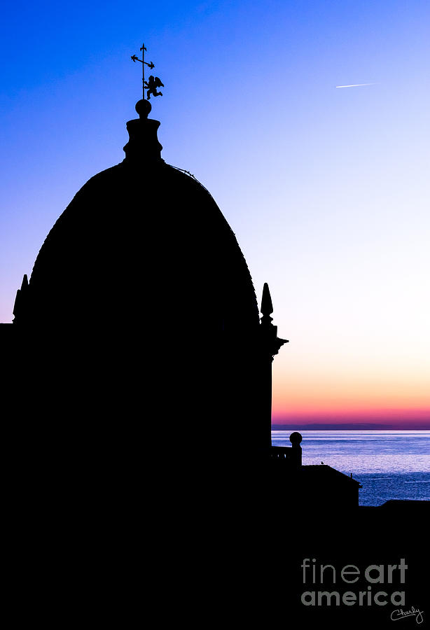 Silhouette of Vernazza Duomo Dome by Prints of Italy