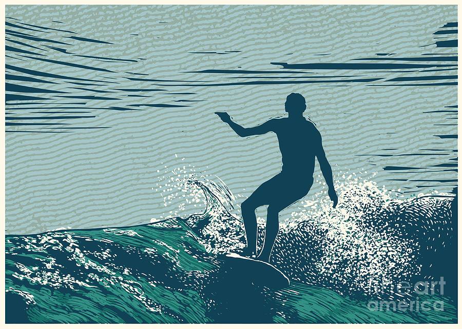 Symbol Digital Art - Silhouette Surfer And Big Wave by Jumpingsack