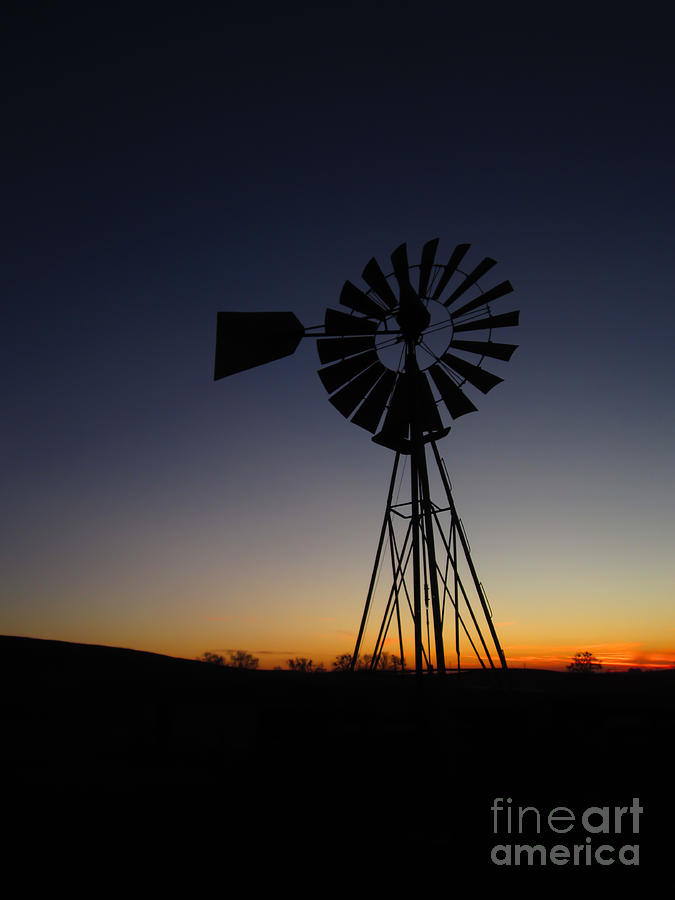 Windmill Photograph - Silhouetted Aermotor by Dan Julien