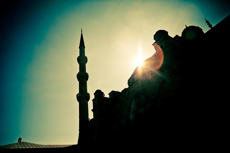 Arch Photograph - Silhouettes Of Blue Mosque Istambul Turkey by Raimond Klavins