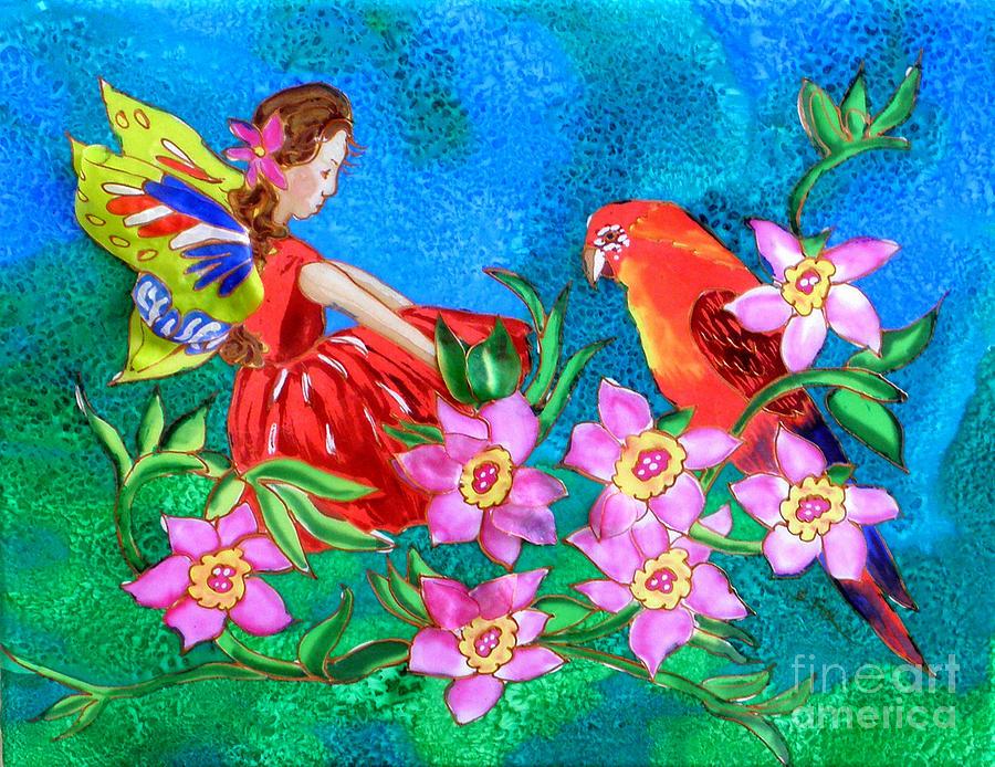 Silk Fairy and Parrot by Sandra Fox