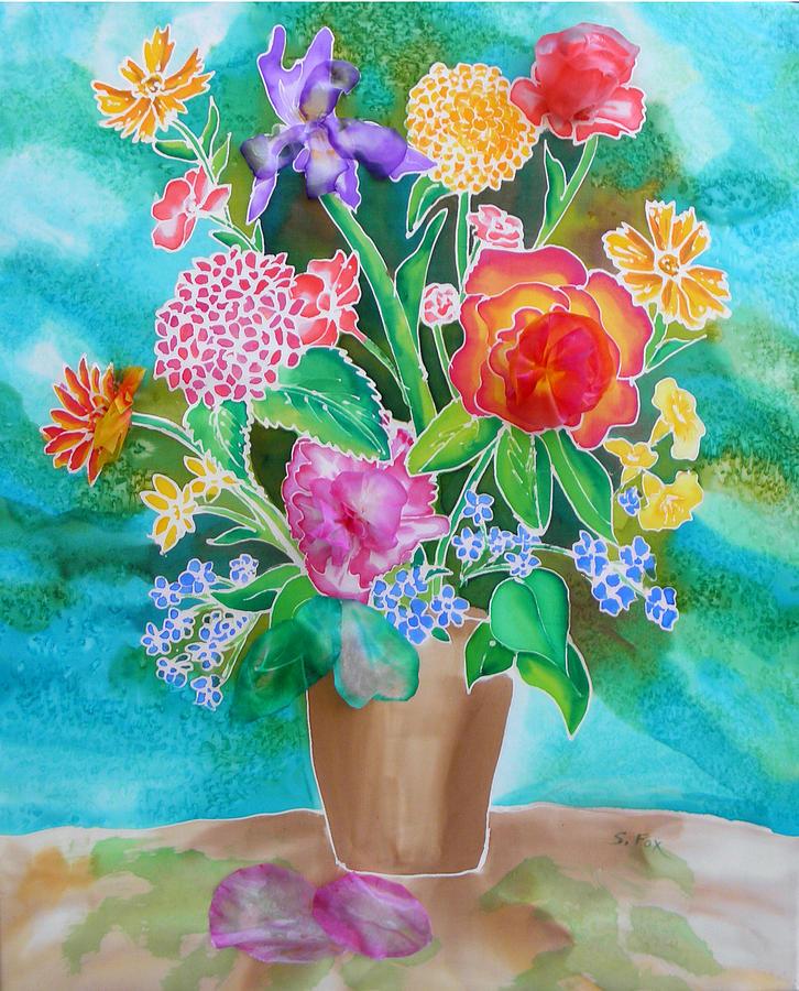Silk Teal Bouquet by Sandra Fox