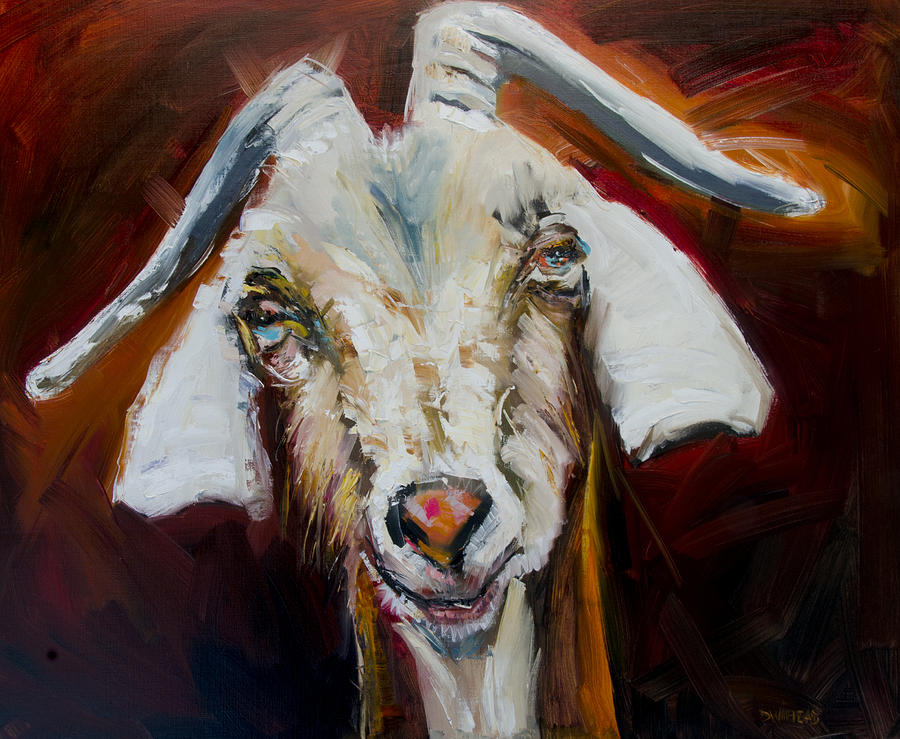 Silly Goat Painting by Diane Whitehead