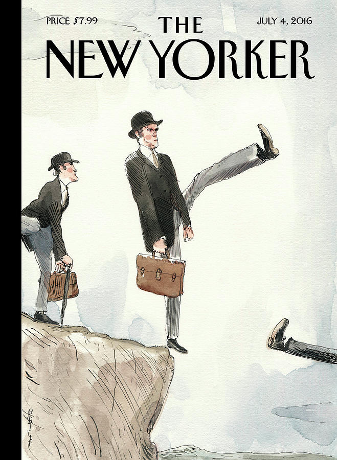 Silly Walk Off A Cliff Painting by Barry Blitt