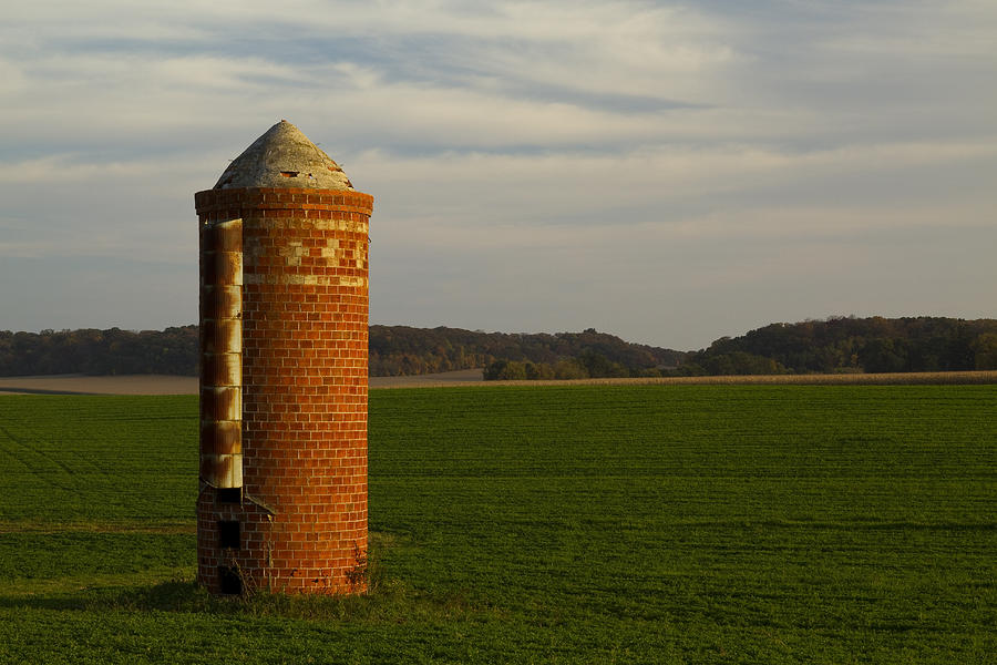 Brick Photograph - Silo Old Brick 3 by John Brueske