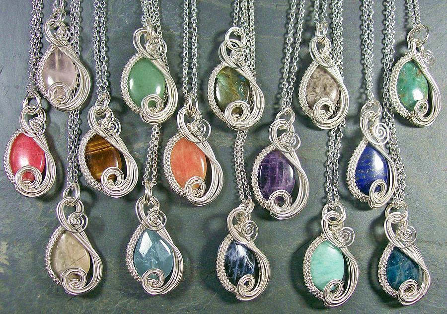 Stone Jewelry - Silver And Gemstone Swish Pendant by Heather Jordan