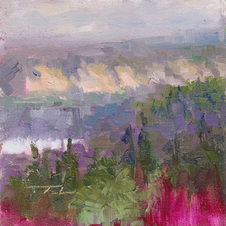 Scenic Painting - Silver And Gold - Matanuska Canyon Cliffs River Fireweed by Talya Johnson