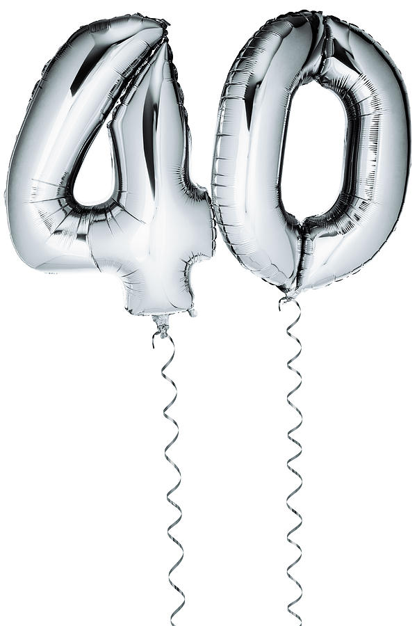 Silver Balloons In The Shape Of A Number 40 Photograph by Creative Crop