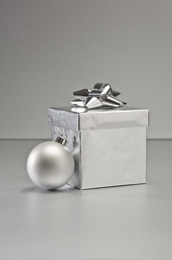 New Photograph - Silver Bauble And Present by U Schade