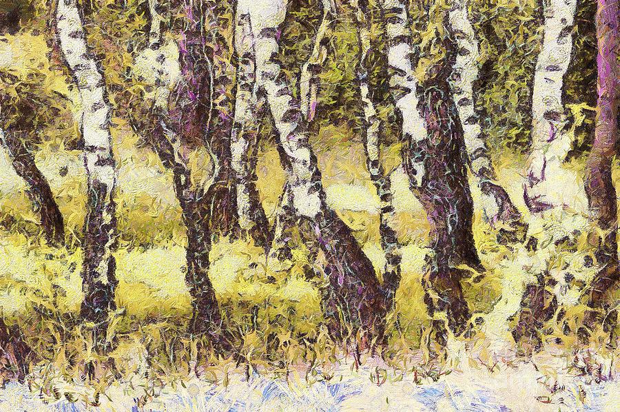 Odon Painting - Silver Birch by Odon Czintos