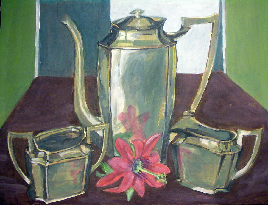 Silver Painting - Silver Dish by Vera Lysenko