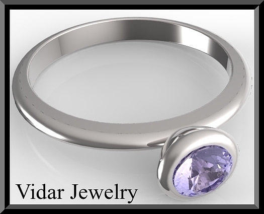 Gemstone Jewelry - Silver Engagement Ring With Blue Sapphire by Roi Avidar