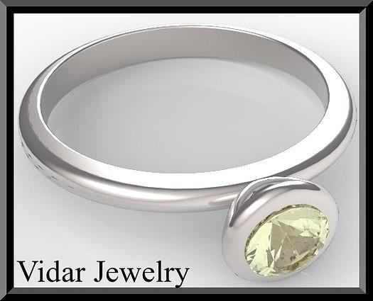 Gemstone Jewelry - Silver Engagement Ring With Lemon Quartz by Roi Avidar