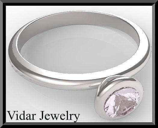 Gemstone Jewelry - Silver Engagement Ring With Rose Quartz by Roi Avidar