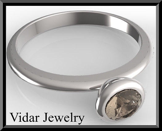 Gemstone Jewelry - Silver Engagement Ring With Smoky Quartz by Roi Avidar