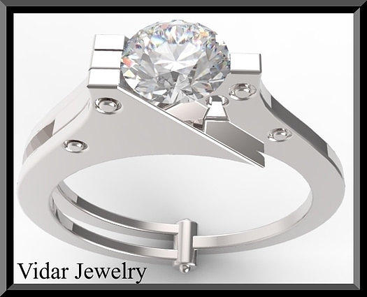 Gemstone Jewelry - Silver Engagement Ring With White Sapphire by Roi Avidar