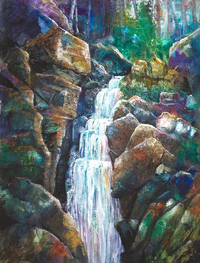 P Allingham Carlson Mixed Media - Silver Falls by Patricia Allingham Carlson