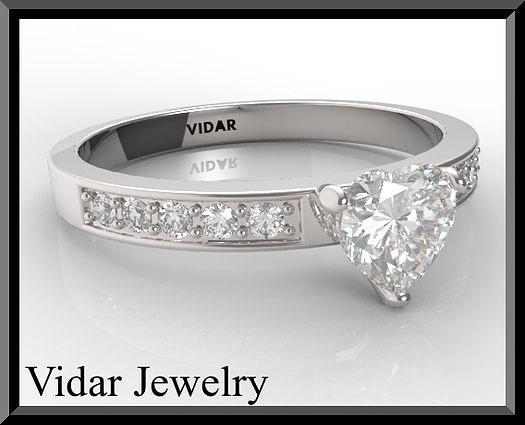 Gemstone Jewelry - Silver Heart Engagement Ring by Roi Avidar