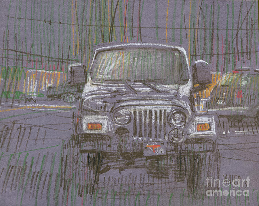 Parked Painting - Silver Jeep by Donald Maier