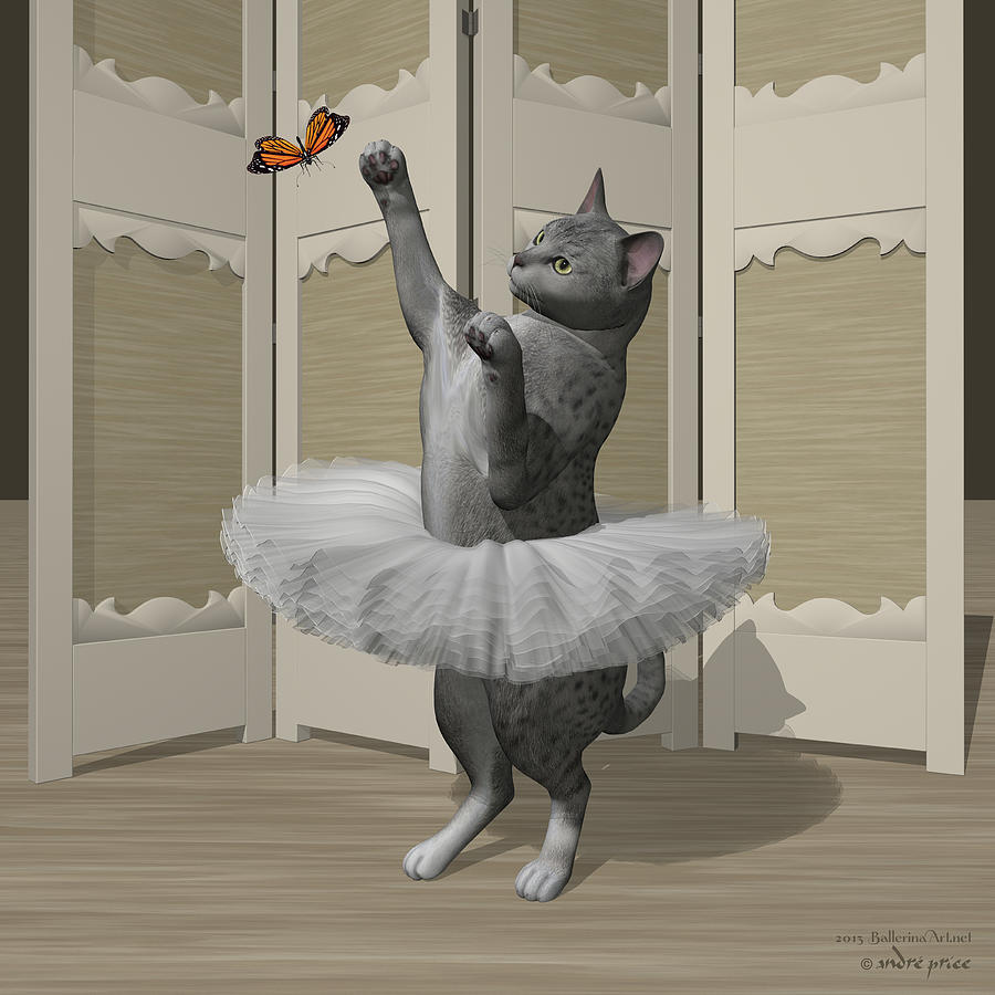 Silver Mau Ballet Cat On Paw-te Digital Art by Andre Price